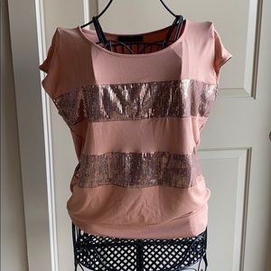 Banded bottom sequin top